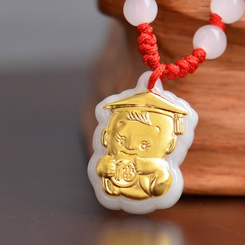 цена на Hot Sale Jade Necklace Pendants for Baby Child Jewerly Good Luck Gift Pendant Jade High Quality