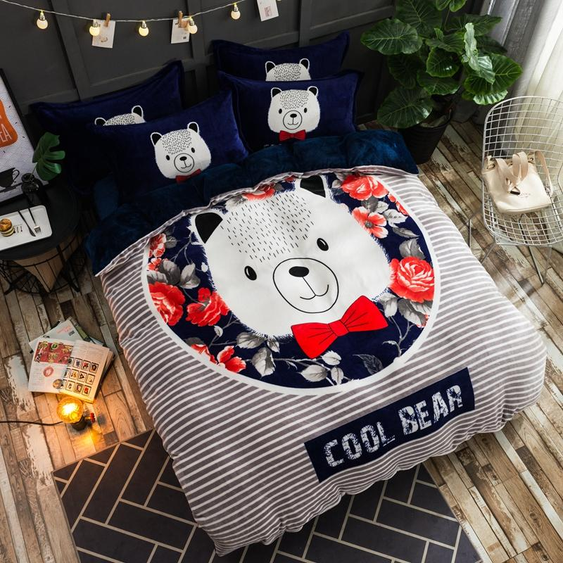 Cartoon Fleece Fabric  Bedding Set . pillowcase Bed Sheet/linen Duvet Cover set.comfortable and cuteCartoon Fleece Fabric  Bedding Set . pillowcase Bed Sheet/linen Duvet Cover set.comfortable and cute