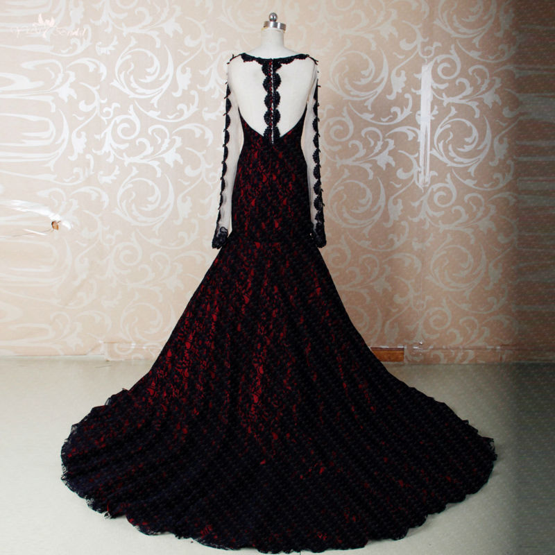 Red And Black Wedding Gowns: RSE270 High Quality Yiaibridal Boat Neckline Long Sleeve