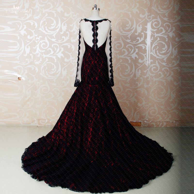 RSE270 High Quality Yiaibridal Boat Neckline Long Sleeve Mermaid Wedding Dresses Red 2017 Black Lace Wedding Gown