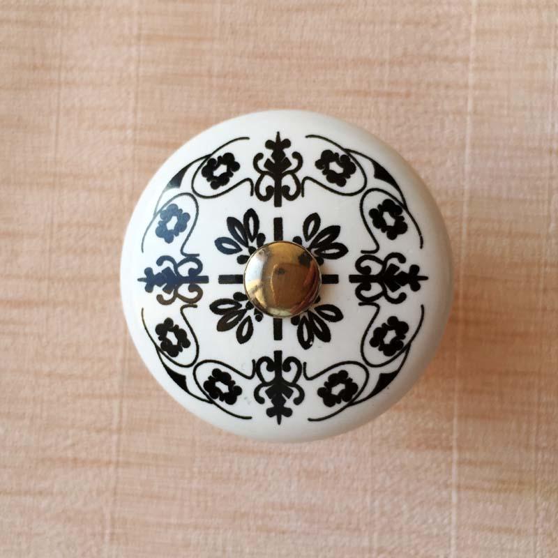 Black Floral Printed Ceramic Cabinet Knobs Furniture Handle Drawer ...