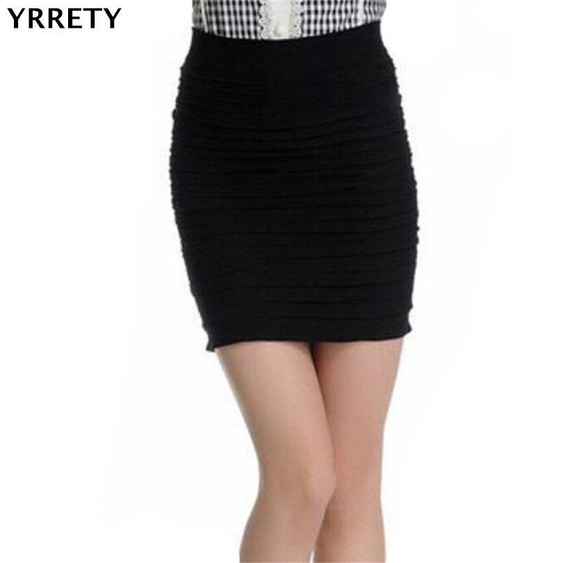 YRRETY Fashion High Waist Stretch Mini Slim Women's Sexy Pencil Straight Skirt Folded Slim Short Skirt Color Mature Girl Skirts