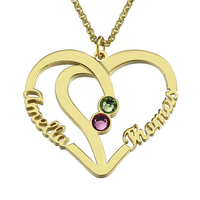 Customized Heart Names Necklace Birthstone Necklace With2 Names Gold Heart In Heart Necklace Couple Jewelry Anniversary