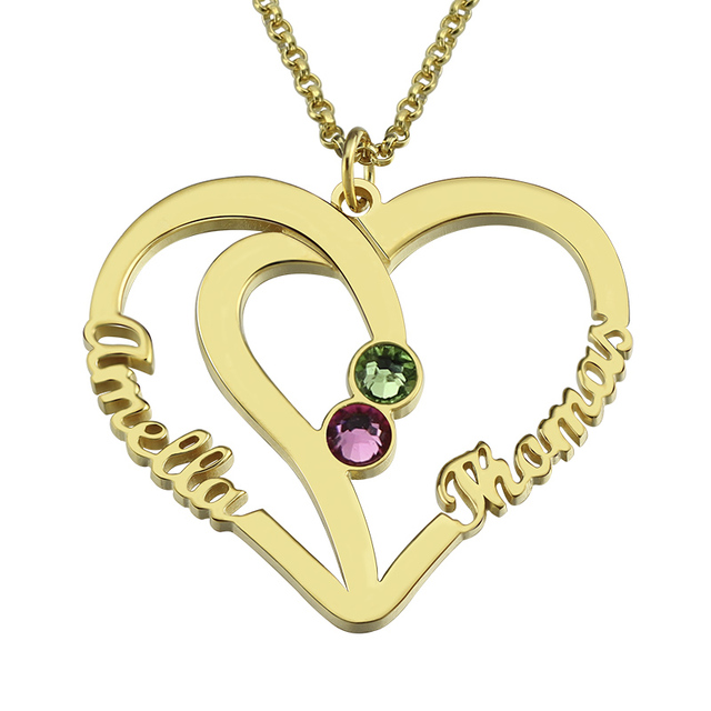 Customized Heart Names Necklace Birthstone Necklace Gold