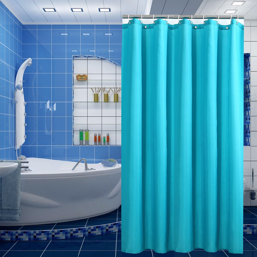 Blue bathroom curtains - Fabric Polyester Bath Shower Curtain Solid Blue Color Waterproof Shower Curtain Moldproof Thicken Bathroom Shower Curtain
