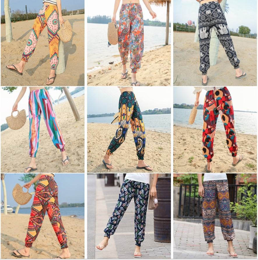 Mens Retro Loose Casual Hippie Ethnic Harem Floral Ali Baba Tapered Pant Trouser