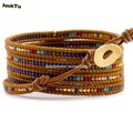 2017 brown mixed seed beads leather wrap bracelet