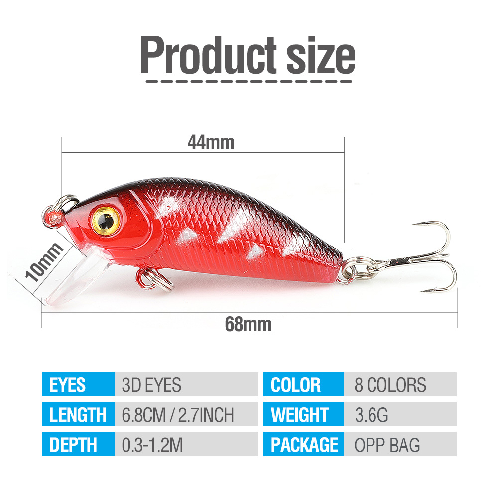 DONQL 2pcslot Minnow Fishing Lure 4.4cm 3.6g Wobblers Crankbait Artificial Hard Baits Topwater Floating Fishing Tackle          (5)