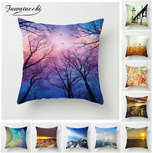 Fuwatacchi Scenic Style Cushion Cover Forest Dusk Elephant Flower Pillow Case Ocean Home Decorative Pillows For Sofa Car