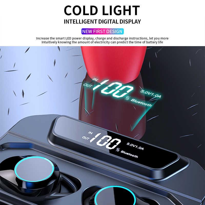 G02 V5.0 słuchawki stereo na bluetooth bezprzewodowy IPX7 wodoodporny dotykowy zestaw słuchawkowy 3300mAh bateria LED wyświetlacz typu c etui ładujące