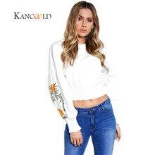 KANCOOLD 2017 fashion Shirts Europa und die Vereinigten Staaten arbeiten Manschetten Blumen Bestickte Langarmshirts New Oct1