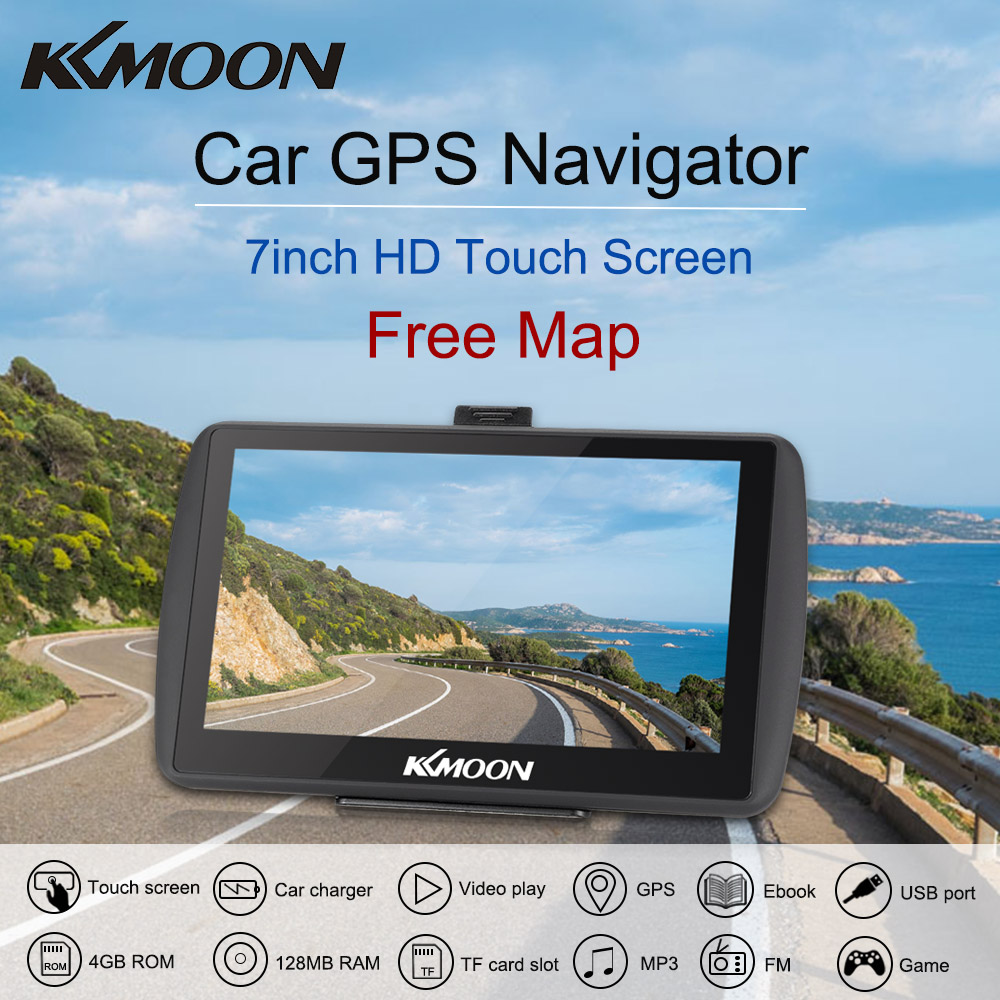 7inch HD Touch Screen Car Portable GPS Navigator 128MB 4GB MP3 Video Player Car Entertainment System with Free Map FM Ebook Game 7 0 touch screen wince 6 0 mtk3351 gps navigator with fm 4gb tf card w europe map black