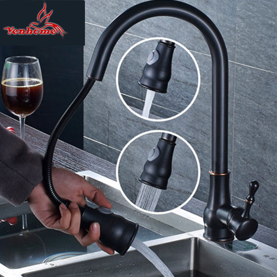 Solid Brass Black Finish Kitchen Faucet Pull Out Mixer Tap 2 Way Function Water Come Out Deck Mounted Cold and Hot Water Faucet come hell or high water
