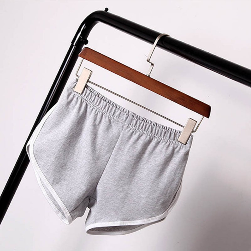 Women Elastic Waist Short All-match Loose Solid Soft Cotton Casual Short 19