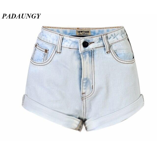 953b712eac59 € 16.37  PADAUNGY Puños Cintura Alta Jeans Shorts Mujeres Mujer Pantalones  Slim Fit Denim Pantalones Cortos Flacos Jeggings Plus Size Jean Femme en ...