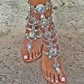 Женщины сандалии 2017 мода лето женская обувь сандалии со стразами sandalia feminina женская обувь плюс размер 43 Кристалл