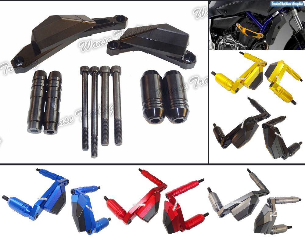 Motorcycle Left & Right Engine Cover Crash Pads Frame Sliders Protector For Yamaha MT-07 MT07 FZ07 FZ-07 2014 2015 2016 engine bumper guard crash bars protector steel for yamaha mt09 mt 09 fz07 fz 09 2014 2016 2014 2015 2016 motorcycle