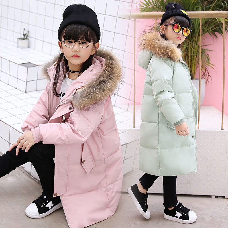 white duck down warm winter coat kids fur hooded solid pink army green red black x-long children jackets girl winter clothing long black girls down coat winter solid 80% white duck down fur hooded fashion pink for 10 12 14 years grils outerwear