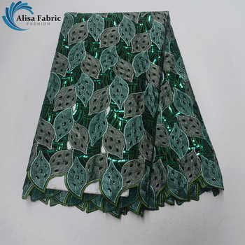 Alisa Sea Green Soft Material Hollow Swiss Voile Lace in Switzerland High Quality 2018 African Cotton Lace Fabric for Formal