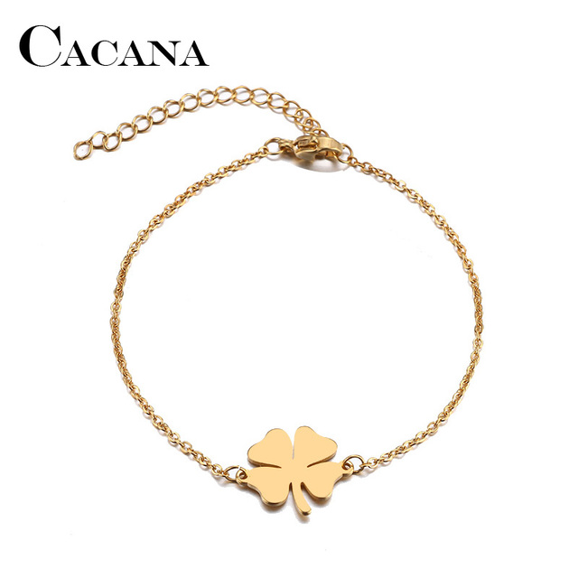 CACANA Stainless Steel Bracelet For Women Man Clover Gold And Silver Color Pulse