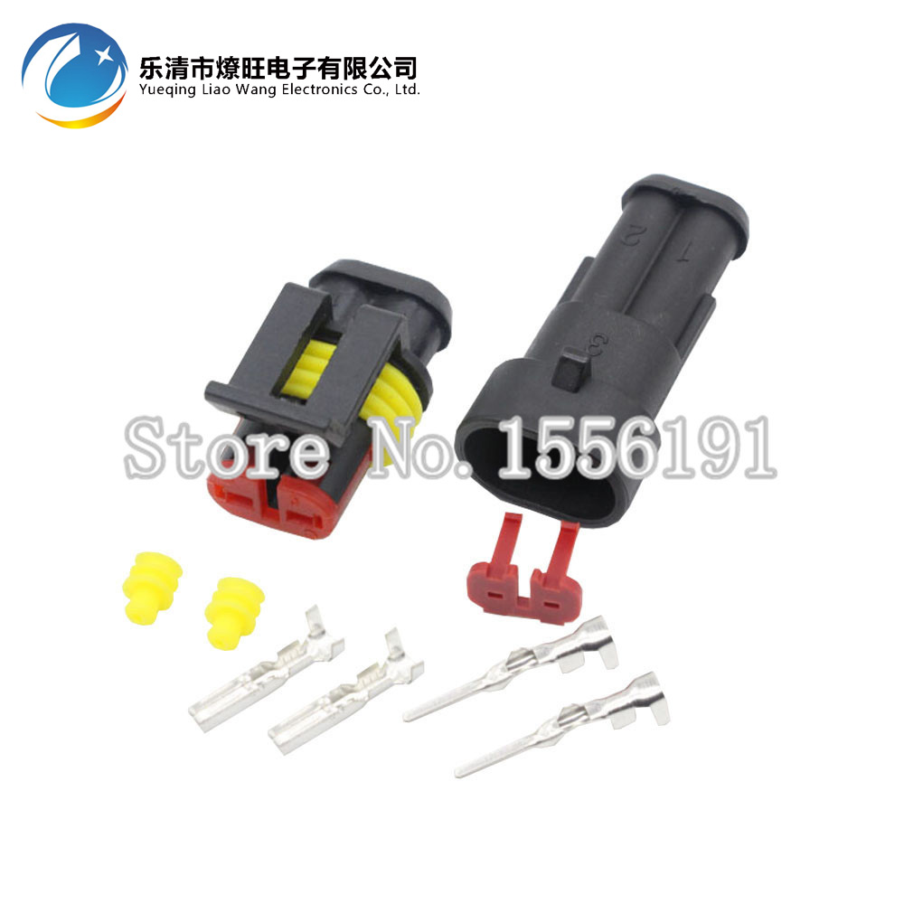 10 Sets 2 Pin AMP 1.5 Connector,DJ7021-1.5 Waterproof Electrical Wire Connector Plug,Xenon lamp connector Automobile Connector black 50 sets 4 pin dj3041y 1 6 11 21 deutsch connectors dt04 4p dt06 4s automobile waterproof wire electrical connector plug