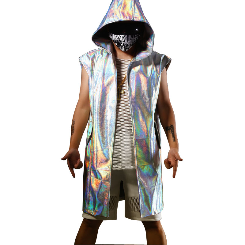 Homens Sem Mangas Com Capuz PU Casaco de Trincheira Masculino Moda Casual Hip Hop Longo Manto Cardigan Trench Custom Made