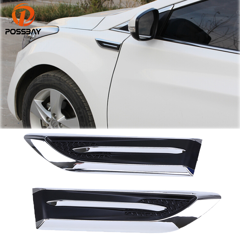 Black Car Air Intake Hood Side Cover Badge Flow Vent Fender Decoration Sticker