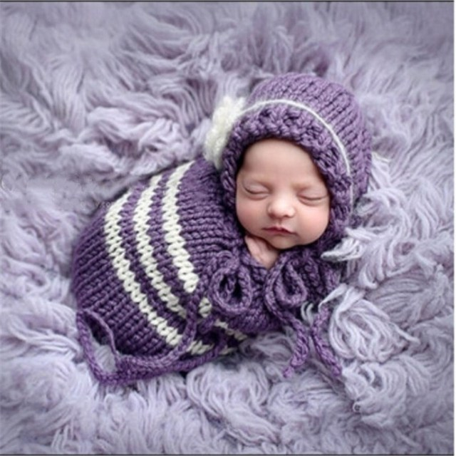Newborn Baby Photography Sleeping Bag Crochet Knitting Sack+Hat Suits Infant Baby Sleeping Costume Photography Prop Accessories