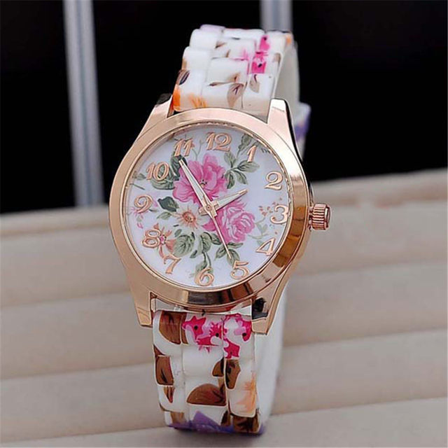 2018 Top Brand Luxury Watches Women Reloj Rose Flower Print Silicone Floral Jell