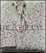 Men's Dress Tuxedo fashion swirl Vest ascot tie 4pcs