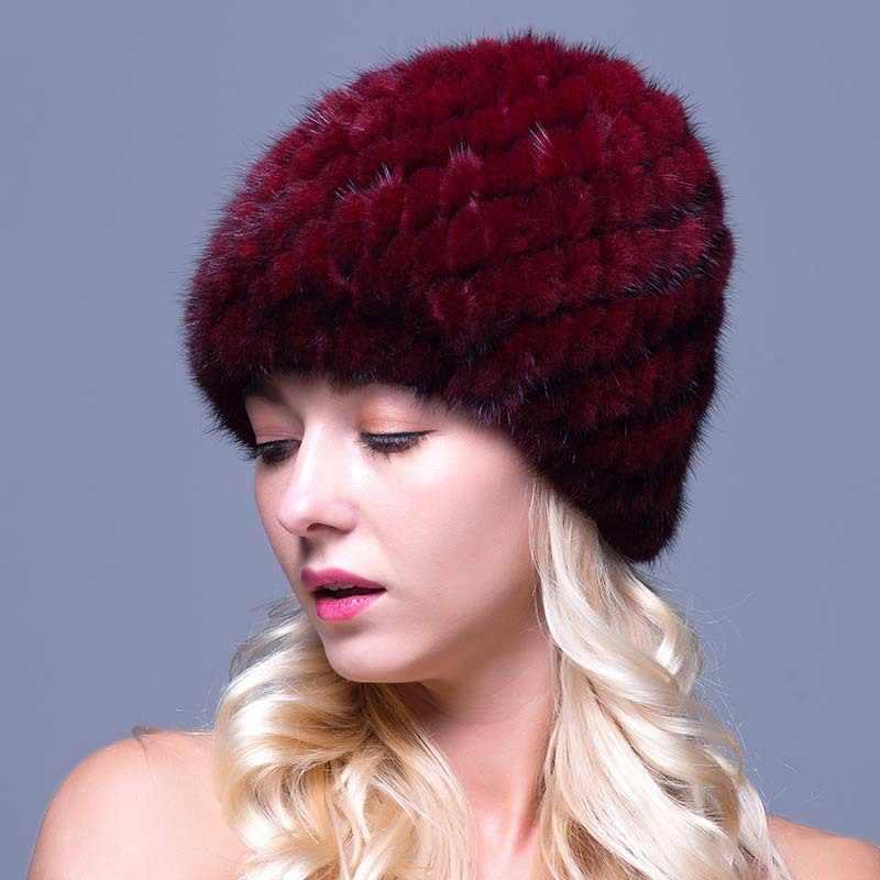 ミンクの毛皮の帽子毛皮の女性キャップ女性の冬の帽子黒ビーニーニットキャップパイナップル帽子ホールド耳