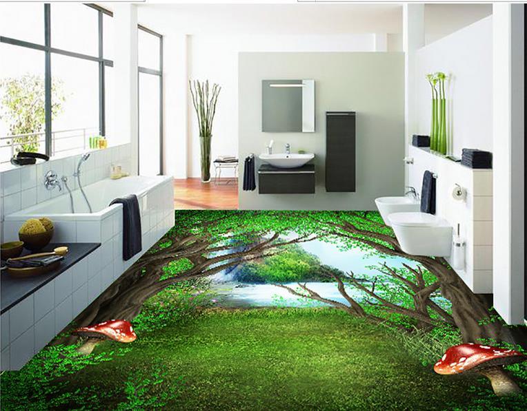 ФОТО custom self-adhesive wallpaper 3d floor bathroom vinyl wallpaper Painted Forest 3d flooring wallpaper brick wall