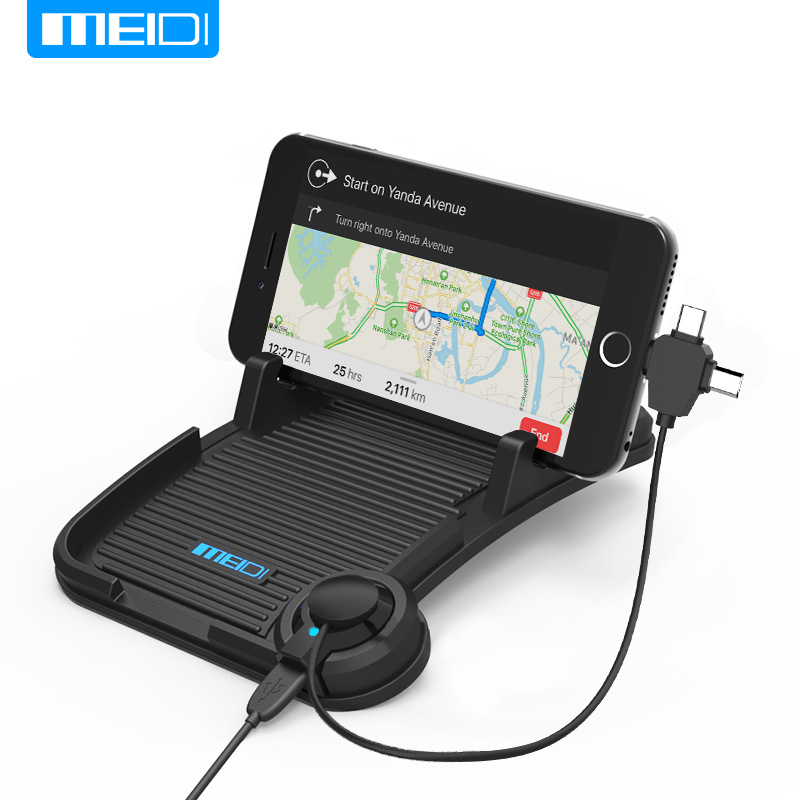 MEIDI Dashboard Non-Slip Pat Universal Car Mount Phone Holder with DC 5V 2.1A USB Car Charger fit for Apple and Android