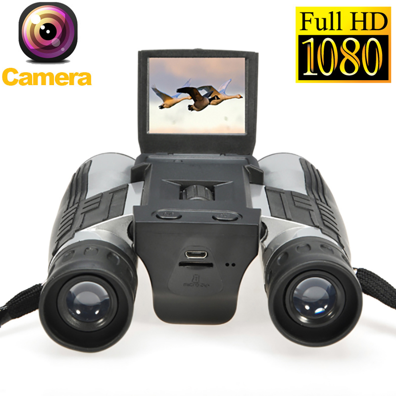 Sport 12x32 HD Binoculars Digital camera 5MP CMOS USB Digital Telescope 2.0'' TFT 1080p Zoom binocular Camcorder Video Camera 2 lcd screen cmos hd 720p usb digital binocular telescope 96m 1000m zoom telescopio dvr binoculars photo camera video recording