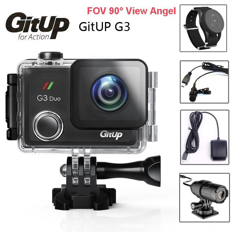 D'origine Git3 Gitup G3 Duo Double Caméra Pro Emballage 2 k HD WiFi Étanche Action Cam 2.0 LCD Tactile écran 90 Degrés w/GPS Micro