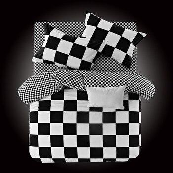 Black and white Plaid 100% cotton Bedding Sets Stripe duvet cover sets bed linen 3/4pcs new Fashion luxury bed sheet bedclothes
