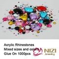 Rhinestones Mix Sizes Mix Colors Round Acrylic Non-Hotfix Flat Back Rhinestones Nail Art Stones For Wedding Strass Decorations