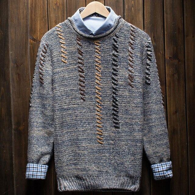 Мужчины свитер 2017 новый осенний мужской тонкий о-образным вырезом случайные свитер зимой подросток вязаный пуловер теплый упругой
