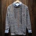 Camisola dos homens 2017 novo outono inverno masculino magro o-pescoço camisola ocasional adolescente menino pulôver de malha elástica quente
