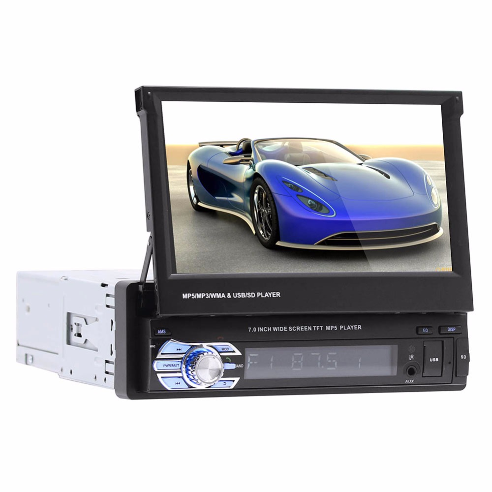 "1Din Car Audio HD Digital 7"" HD Retractable Touch Screen Car Stereo MP5 Player Rear View Camera Bluetooth Handsfree Autoradio(China)"
