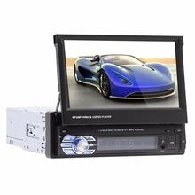 1Din samochodowy sprzęt audio HD cyfrowy 7 HD chowany ekran dotykowy samochodowe stereo MP5 odtwarzacz widok z tyłu kamery zestaw głośnomówiący Bluetooth radio samochodowe tanie tanio NoEnName_Null 9601 1 5kg 60W*4 W desce rozdzielczej ABS PCB Tuner radiowy Angielski 87 5-108 12 v 18 4*15 8*6 2cm 1080p