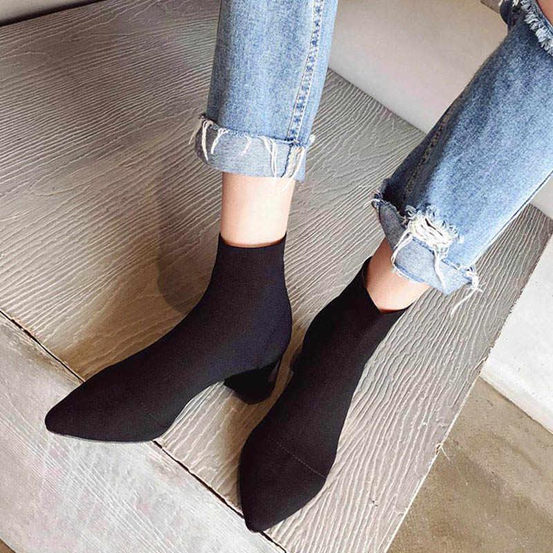 Kadın örgü elastik bahar yarım çizmeler kare orta topuklu kadın sivri burun kısa çorap çizme bayanlar rahat moda ayakkabılar
