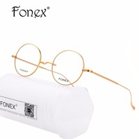 FONEX 100 Real Titanium Glasses Frame Men Retro Women Round Optical Prescription Eyeglasses High Quality Harry