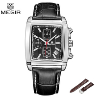 Megir Fashion Quartz Watch Luxury Business Men Watches Leather band Rectangle Dial Chronograph Wristwatch 2028 Relogio Masculino
