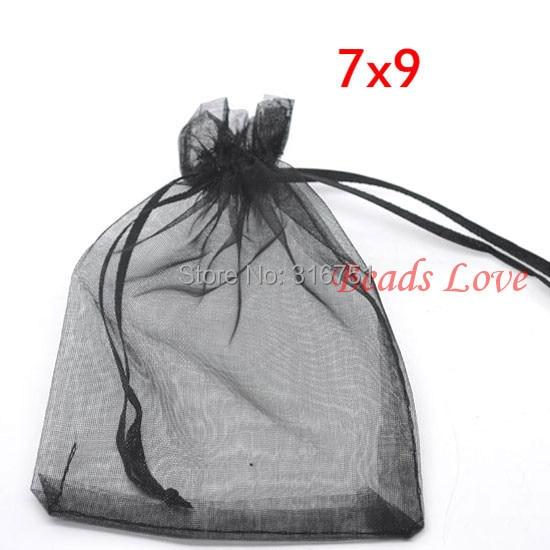 100PCS Black Jewelry Packing Drawable Organza Bags Wedding Gift Bags 7CMX9CM AA(W03181)