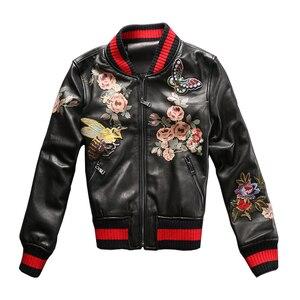 Image 5 - 2017ファッション本革ジャケットレディー黒シープスキンリアルレザーコートembroidereyスリムフィット女性野球衣類