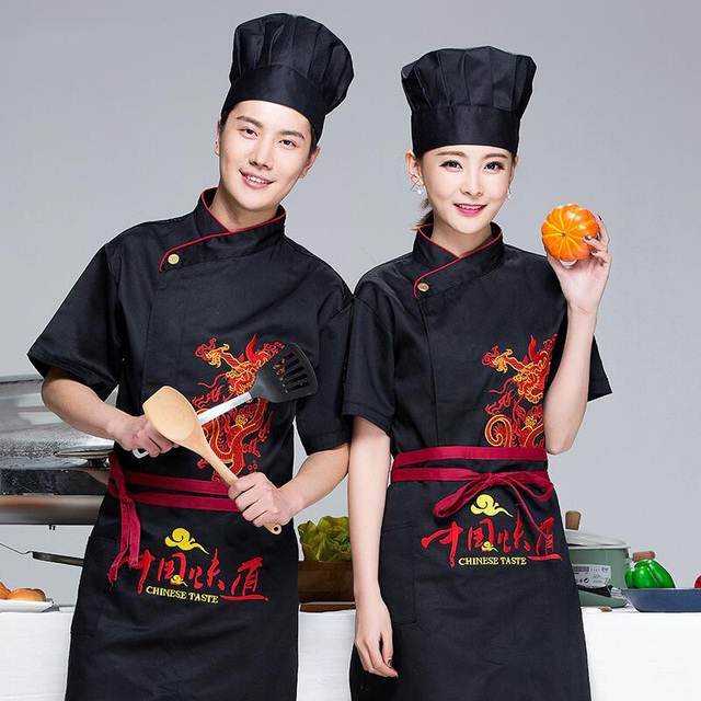 New Chinese style Summer Short-sleeve embroidered workwear Restaurant Chef Jacket Kitchen Cook Suit  Man Woman Chef Uniform