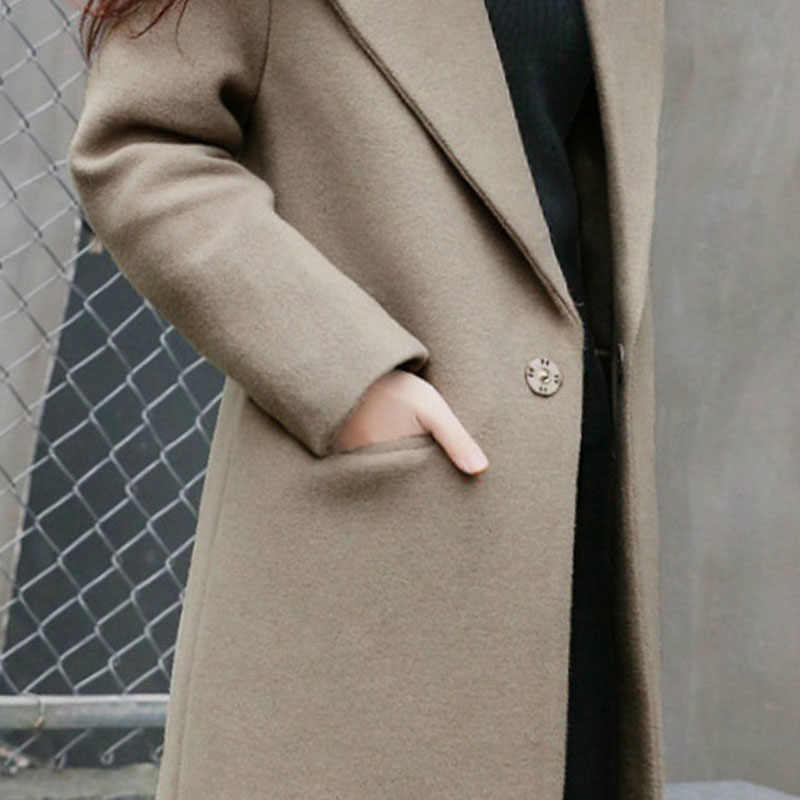 Mulher Casacos de inverno 2019 Longo Estilo Turn-Down Collar Pockets Único Botão Ocasional Das Senhoras Magro Feminino Casaco Outwear