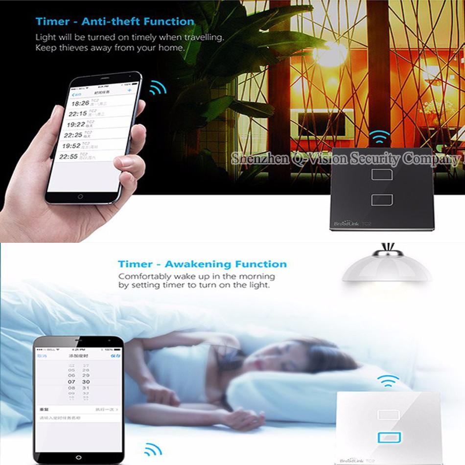 2-UK Standard Broadlink TC2  2 Gang Wireless Remote Control Wifi Wall Light Touch Screen Switch Smart Home 110V-240V RF433  RM PRO