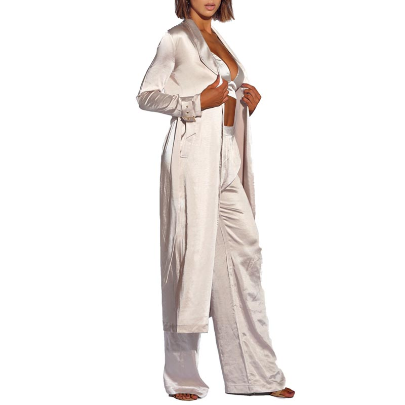 Partie Indrsesme 3 Longues Mode New Longueur Lady Femmes Pantalon Toute Manches La Color Pour Manteau V À Sangle Cou Club Gilet Sexy Costume Set Ceinture De Pièce Picture UXIXrq